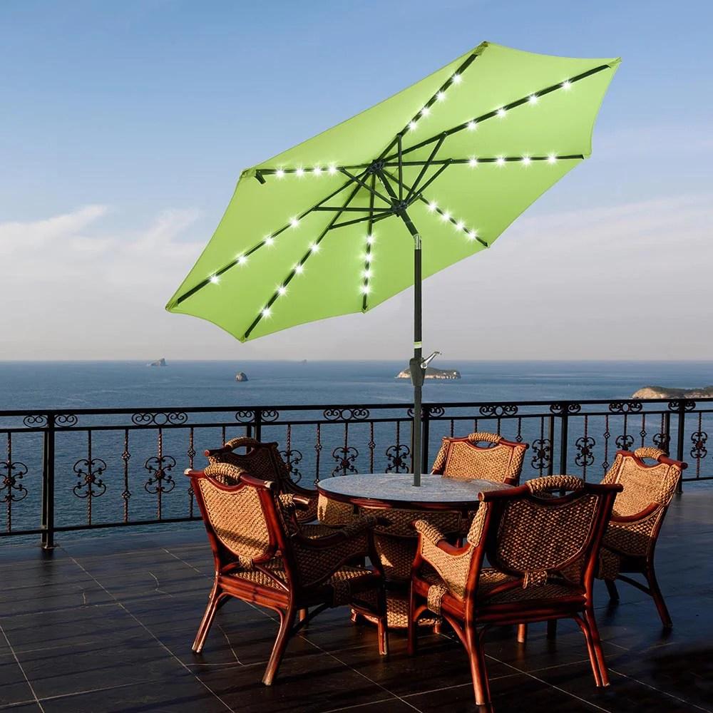 yescom 9ft solar led outdoor market tilt patio umbrella yescomusa