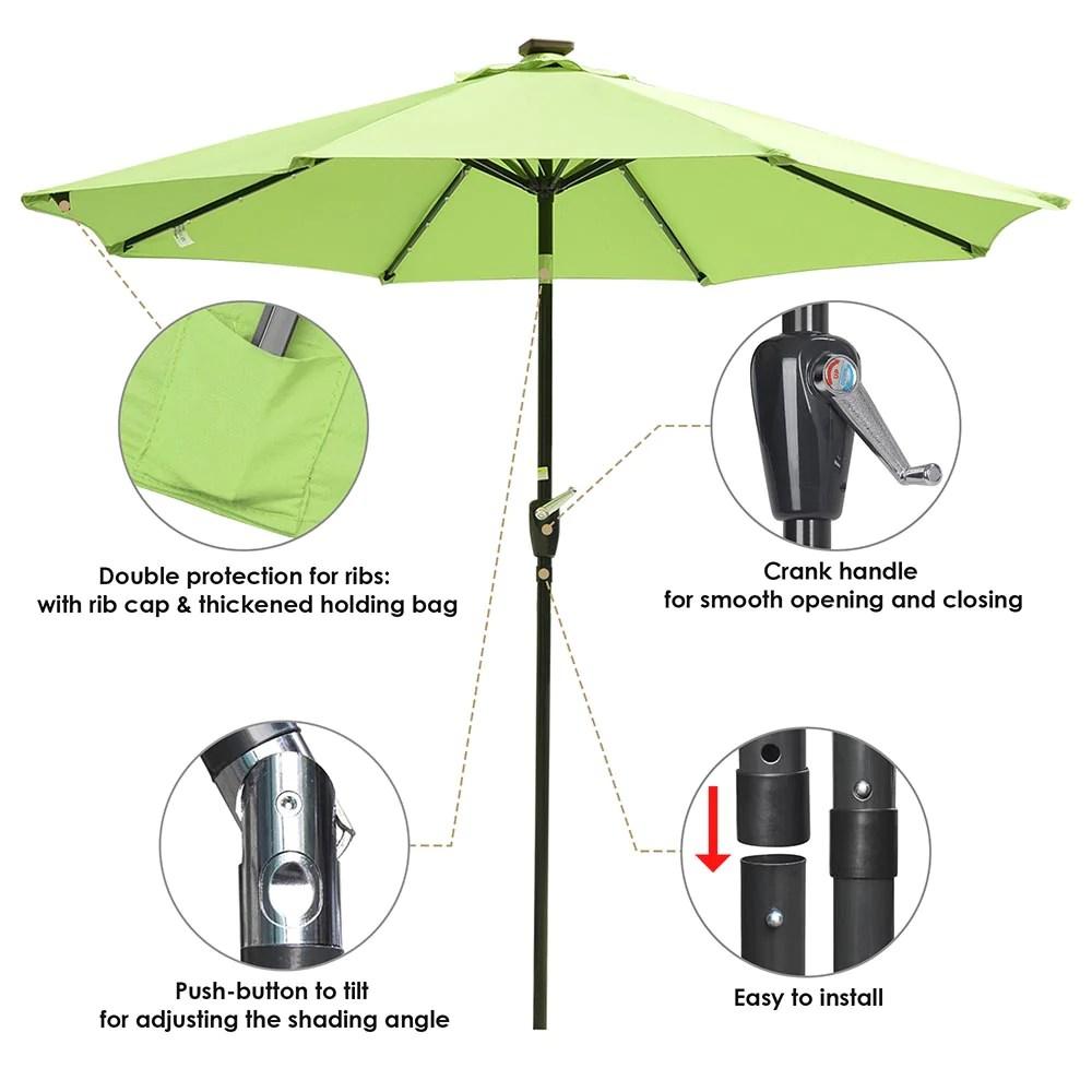 yescom 9ft solar led outdoor market tilt patio umbrella
