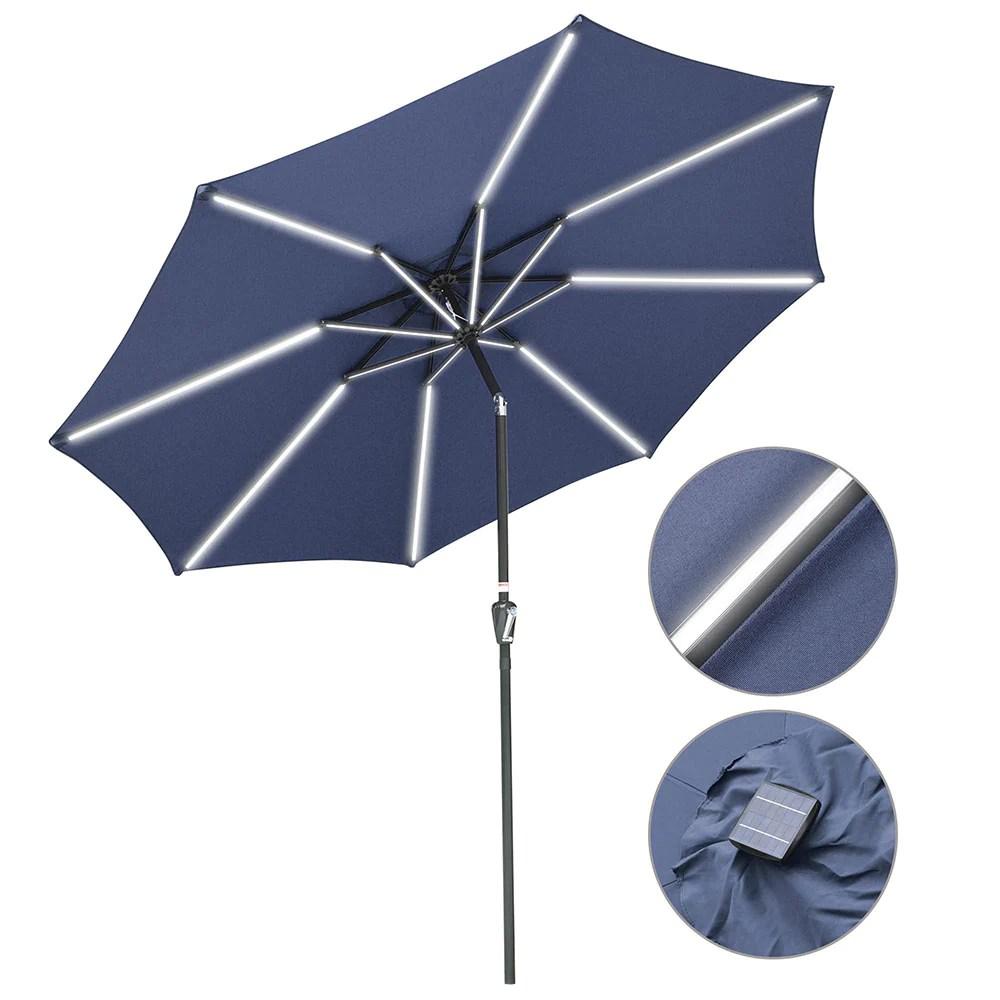 yescom solar patio umbrella w lights tilt parasol umbrella 9 ft 8 rib