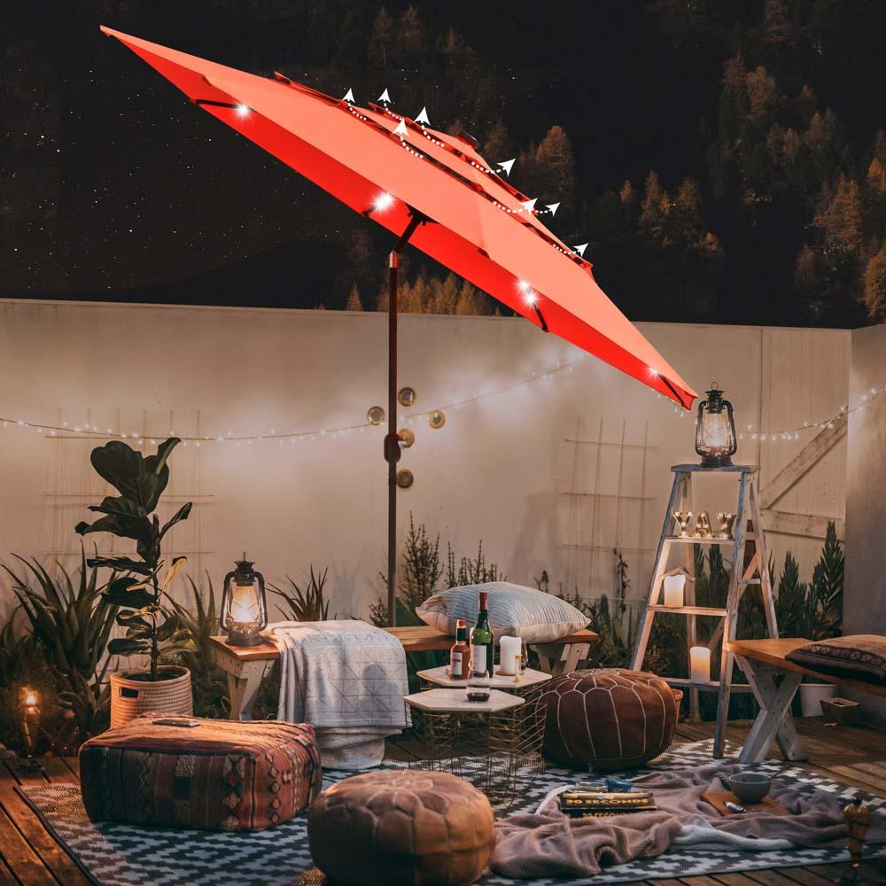yescom 11ft prelit umbrella 3 tiered patio umbrella with lights