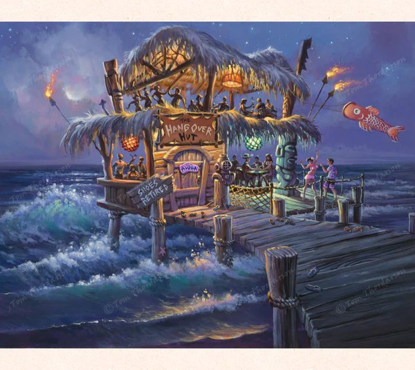 The Hangover Hut  Fantasy Art  Matted Print  THOR ART