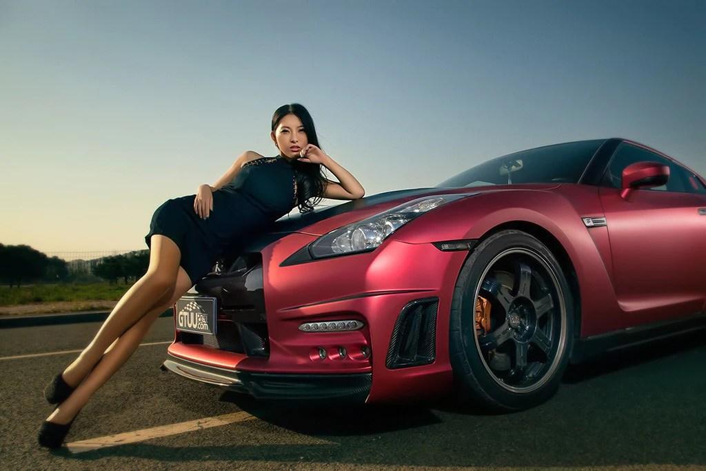 Camaros And Girls Wallpaper Asian Korean Hot Girl Nissan Gt R Red Car Poster My Hot