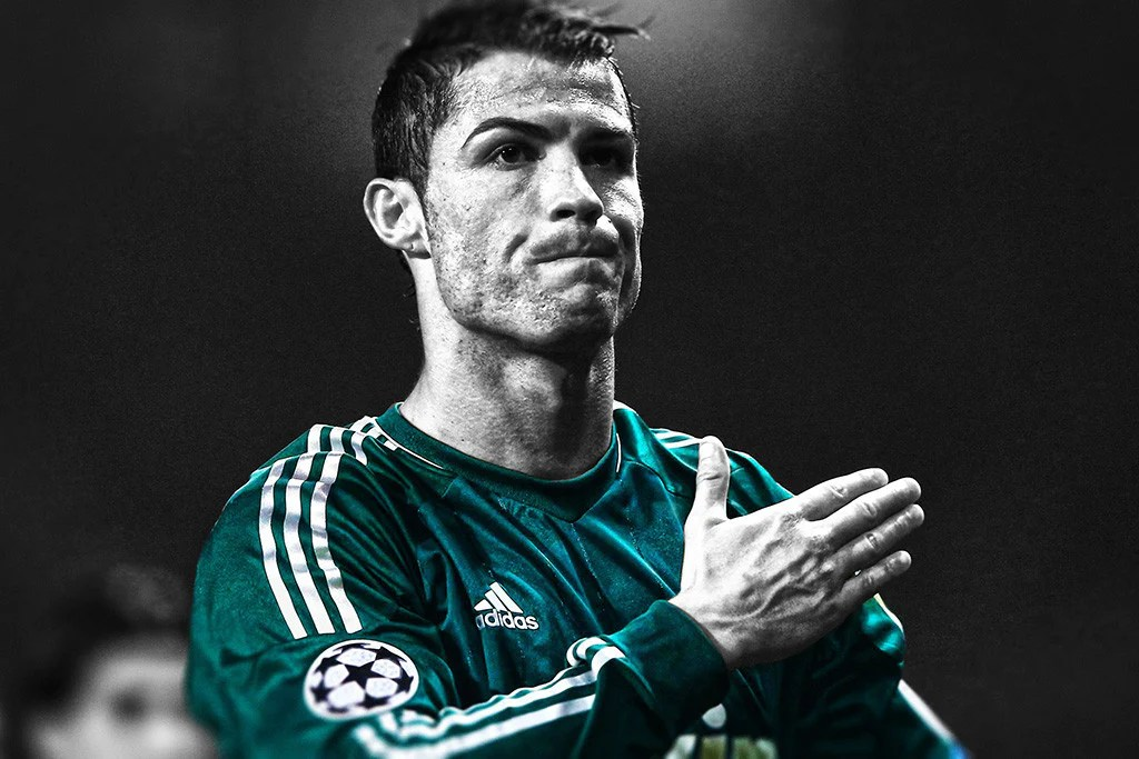 cristiano ronaldo real madrid soccer black and white poster