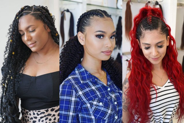 long braided hairstyles using extensions