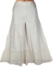 DIVIDED SKIRT WITH CUT WORK FROM JAIPUR IN CREAM-DRKPS14AR2