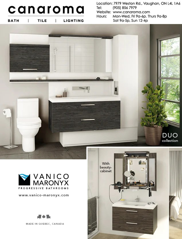 Vanico Maronyx Duo Bath Vanity Collection Canaroma Bath Tile