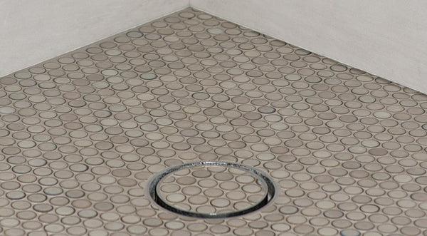 corner kitchen sink cabinet chandelier ideas infinity drain round tile – canaroma bath &