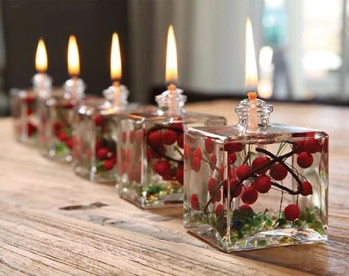 Lifetime Oil Burning Red Berry and Fern Theme Candles