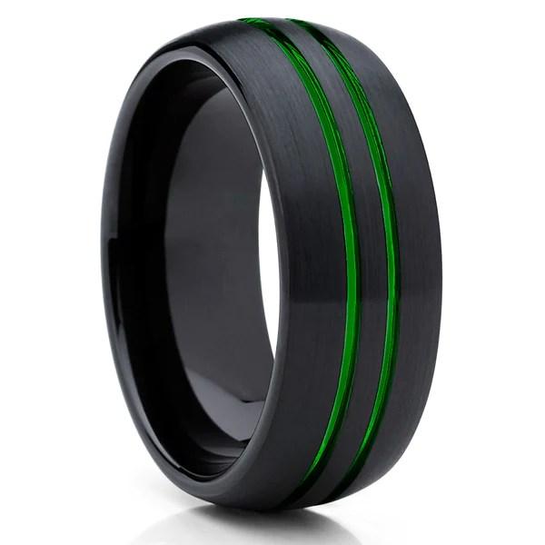 Green Tungsten Wedding Band Green Ring Green Tungsten