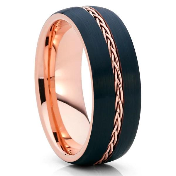 8mm Rose Gold Tungsten Black Wedding Band Braid Ring