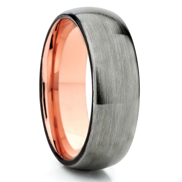 Rose Gold Tungsten Gunmetal Ring Tungsten Wedding Band