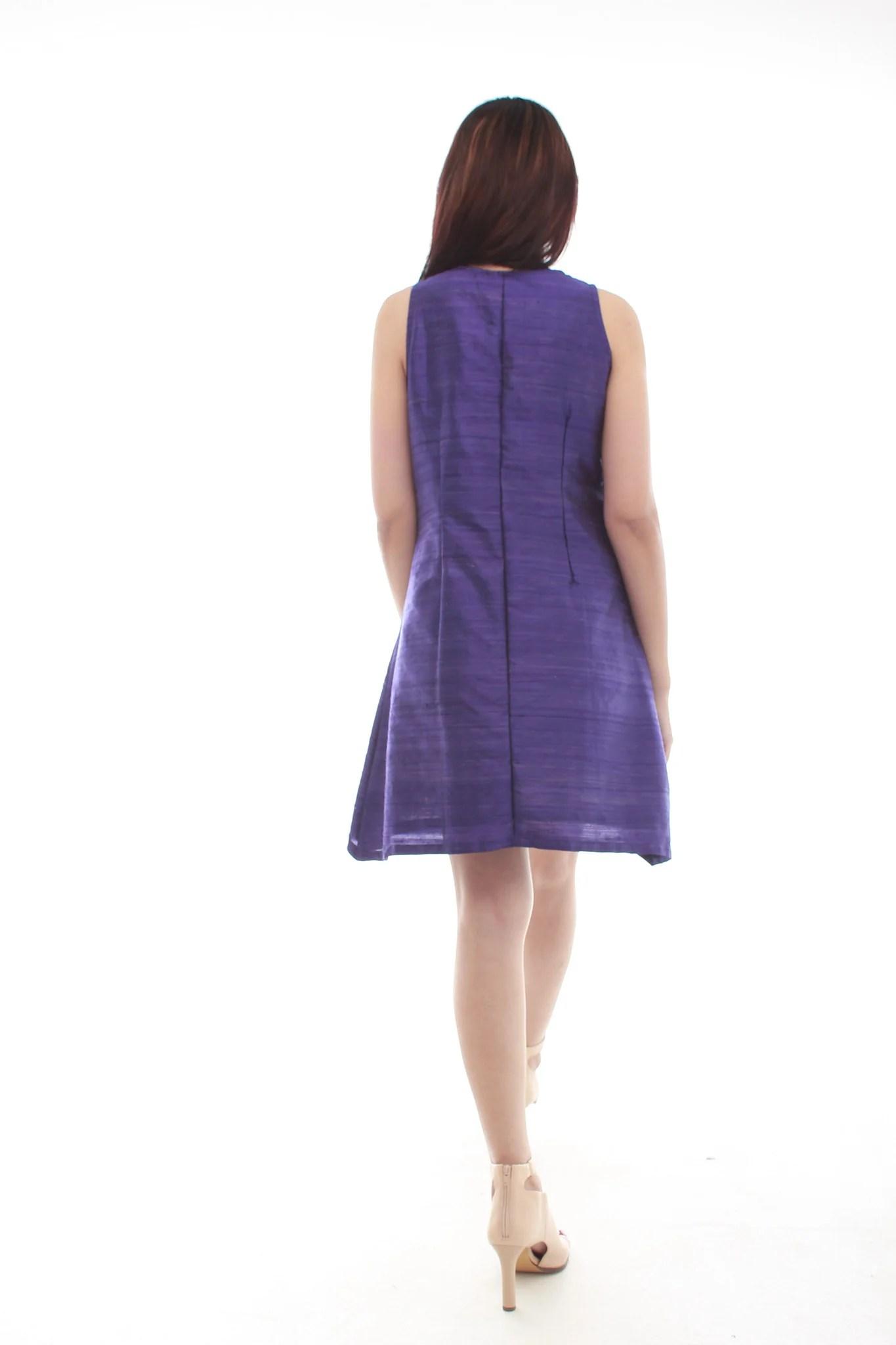 Serena Raw Silk Dress Purple - Moirai Design House