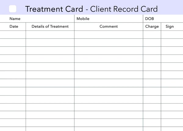 Treatment Additional Client Card Beauty Stationery