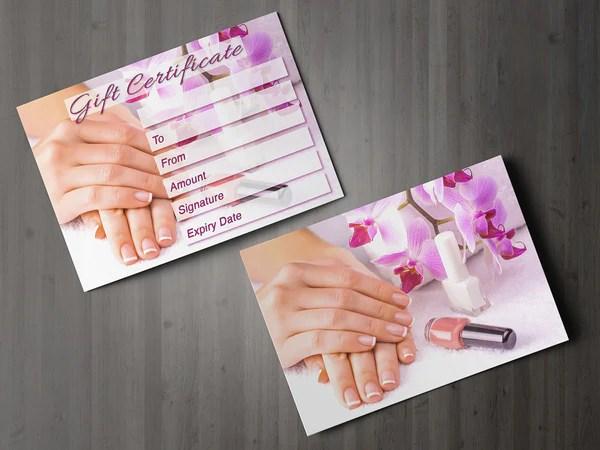 Gift Voucher Card For Beauty Salons Nail Technicians