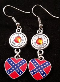 9mm Aluminum French Hook Dangle Earrings With Confederate ...