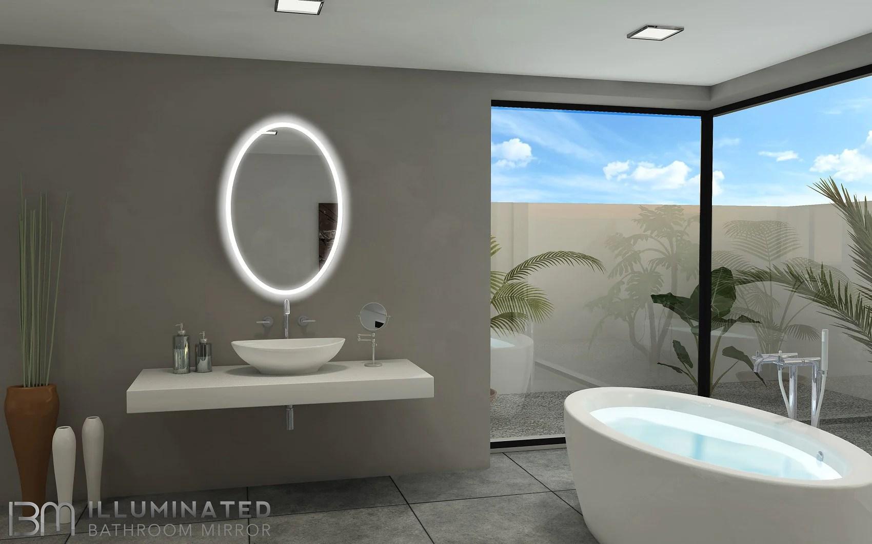 BACKLIT Bathroom MIRROR OVAL 24 X 36 In