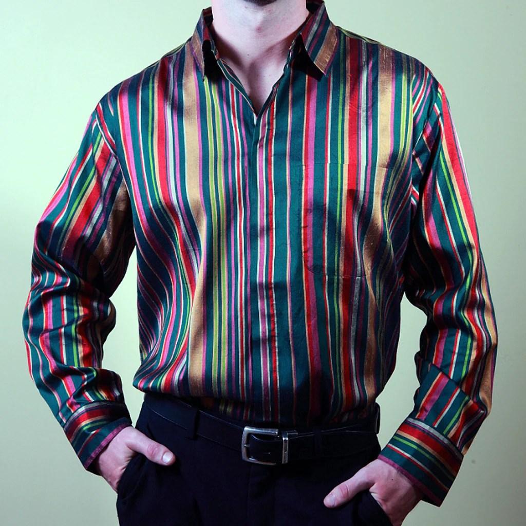 Celebration Striped Silk Mens Shirt Shubrah