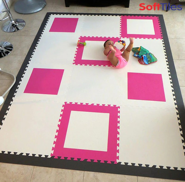 Pink and White DieCut Square Foam Mats contemporary play