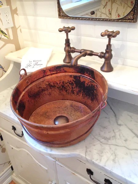 BUCKET TWO Round Vessel Bathroom Copper Sink 16 X 8