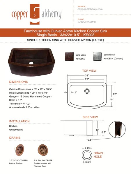 Farmhouse With Straight Apron Kitchen Copper Sink Single