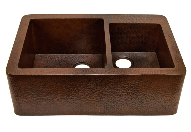 Farmhouse with Straight Apron Kitchen Copper Sink with Rings