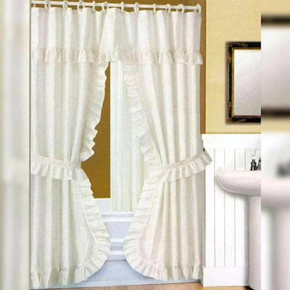 double swag dobby dot fabric shower curtain liner set 18 piece