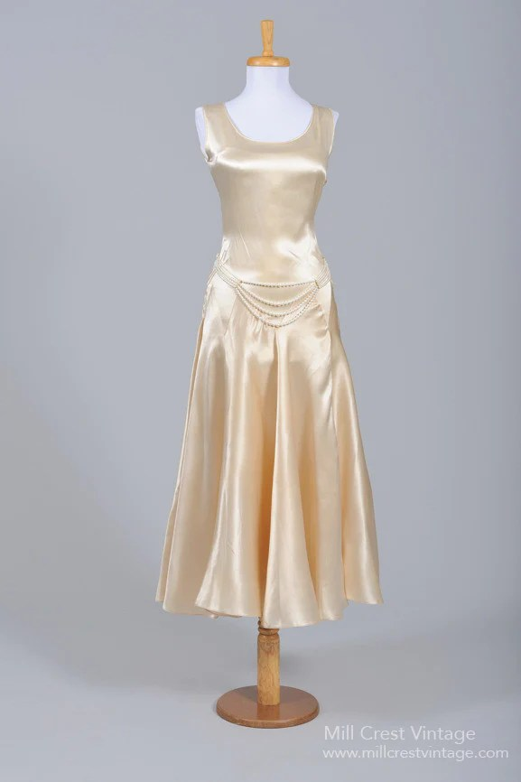 1930s Champagne Satin Vintage Wedding Dress