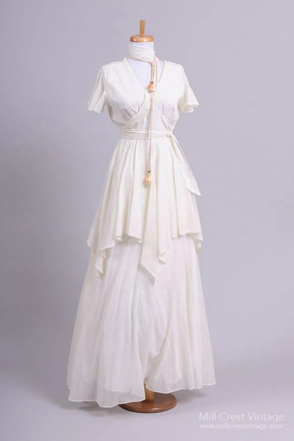 1970 Dotted Peasant Vintage Wedding Dress