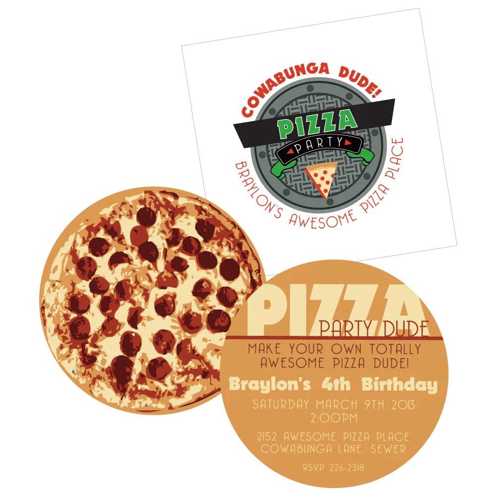 teenage mutant ninja turtles printable pizza invite