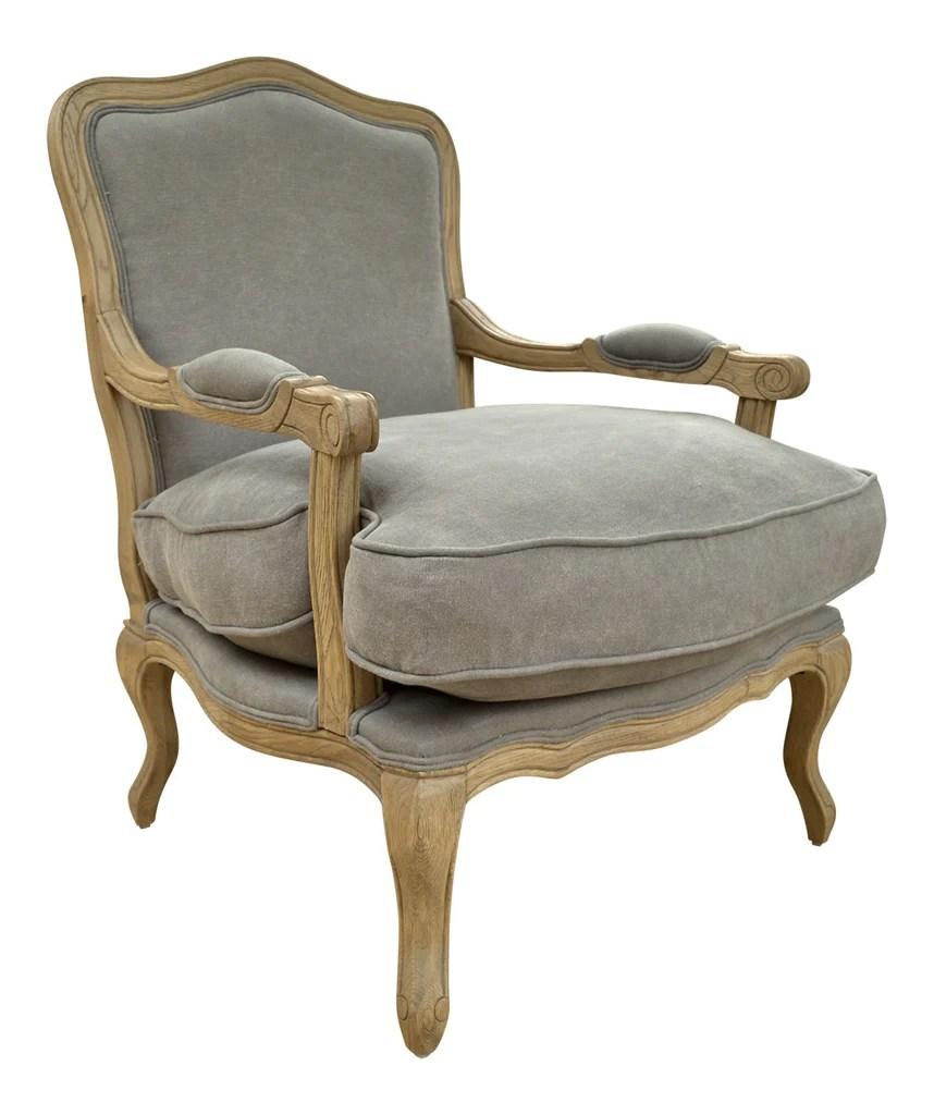 French Style Louis Chair Solid Oak Dove Grey  La
