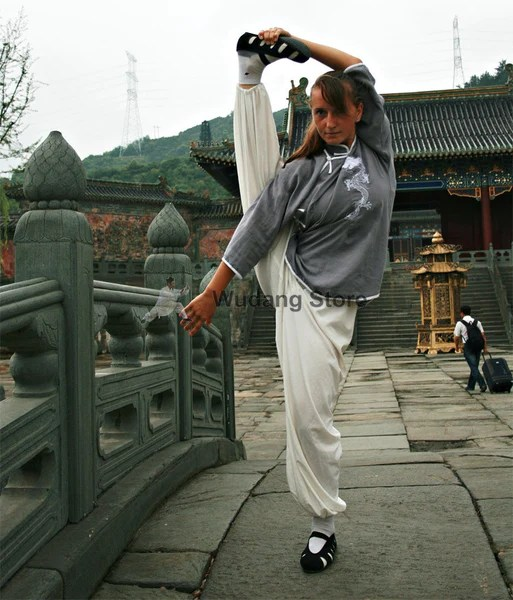 Grey  White Tai Chi Uniform Dragon Sewing  Wudang Store