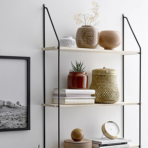 Vardo Wall Mounted Shelving Unit With 6 Shelves Mink Interiors