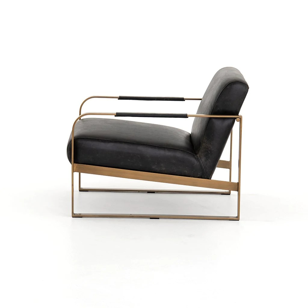 Jules Black Leather Accent Chair Rialto Ebony