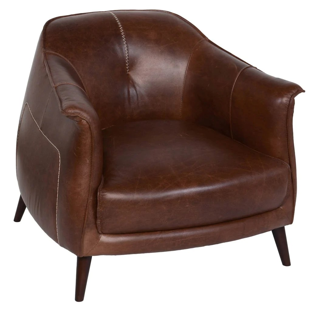 Leather And Wood Chair Martel Club Chair Tan