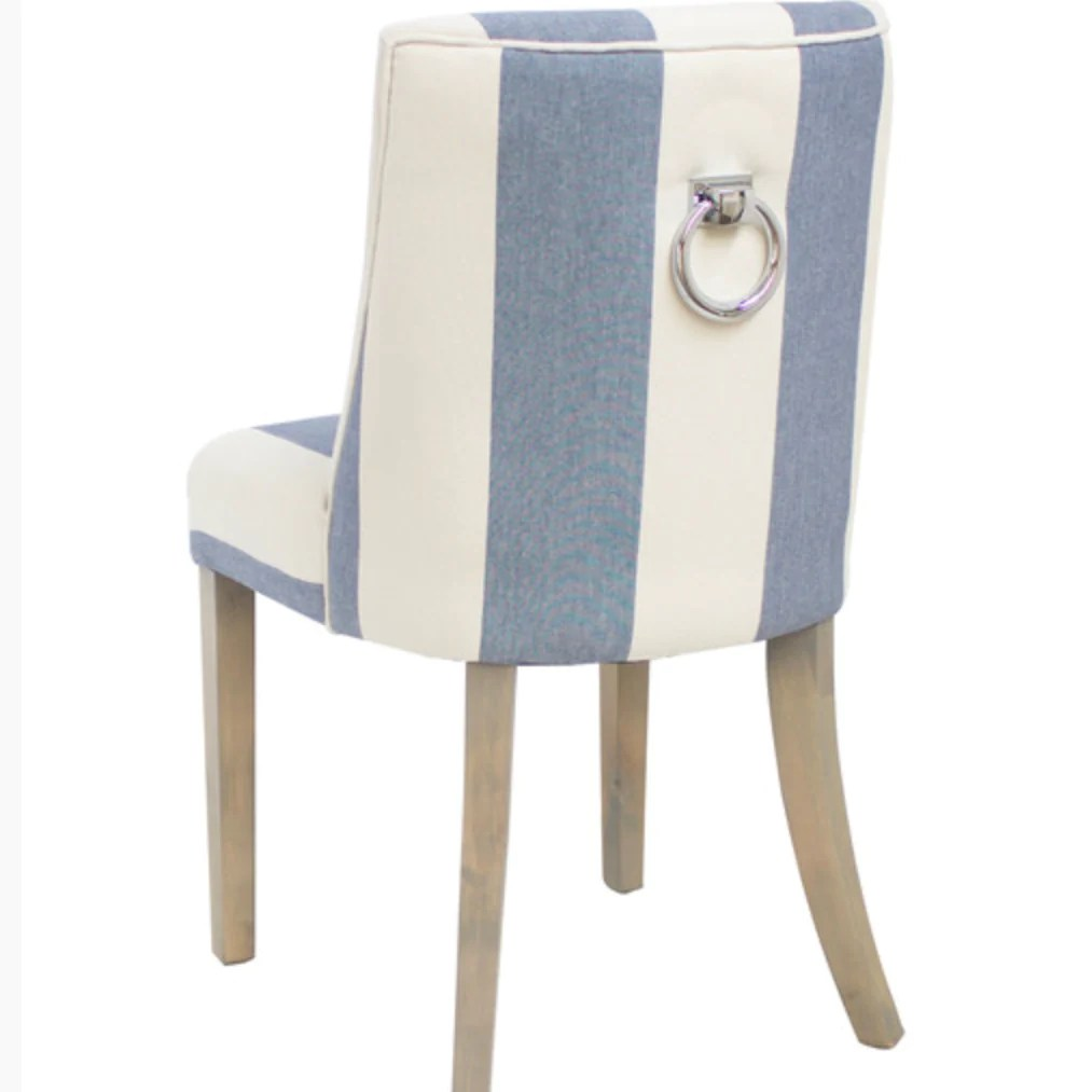 Blue And White Striped Chair Ophelia Thick Blue And White Stripe Linen Dining Chair
