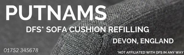 replacement sofa cushions laura ashley spin master flip open disney frozen dfs cushion refilling putnams repair sponge foam fiber wrap dacron webbing