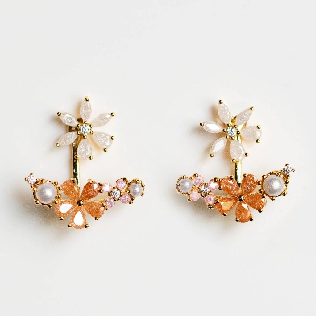 Coral Floral Earrings Local Eclectic