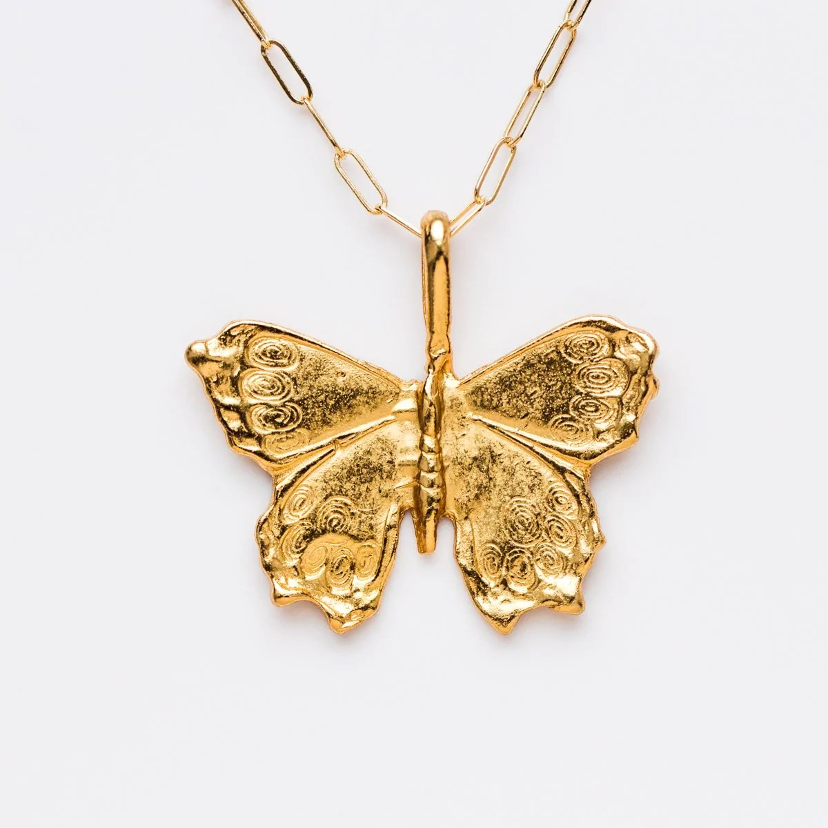 linked chain butterfly necklace