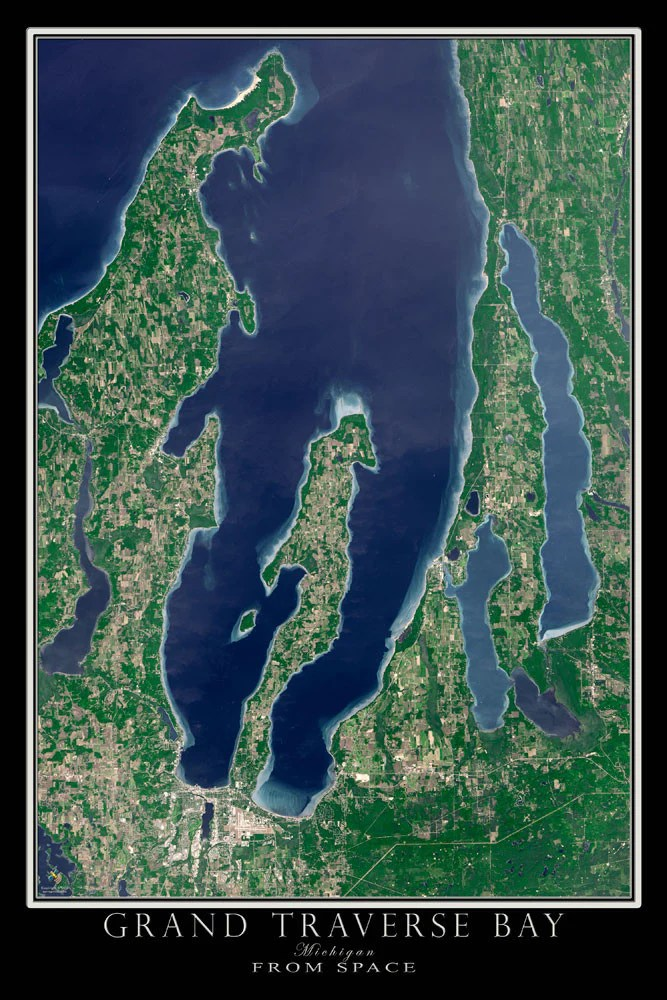 Grand Traverse Bay Michigan Satellite Poster Map