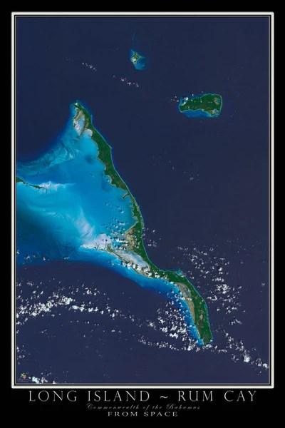 Long IslandRum Cay Bahamas Satellite Poster Map  aerial