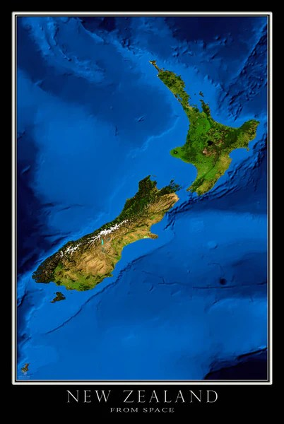 New Zealand Blue Marble Satellite Poster Map — aerial ...
