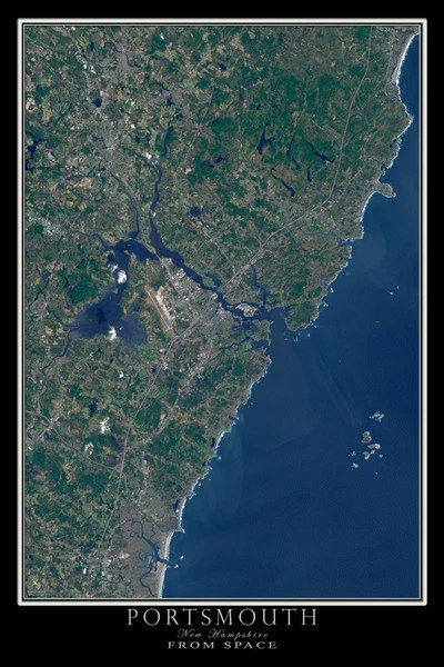 Portsmouth New Hampshire Satellite Poster Map  aerial