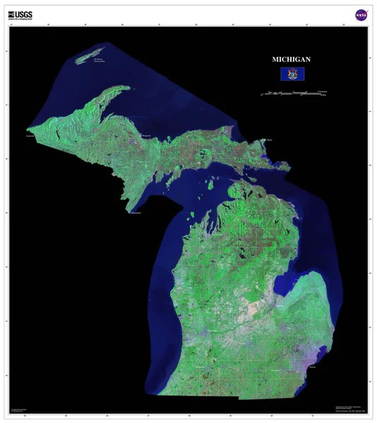 Michigan Satellite Poster Map aerial views from space
