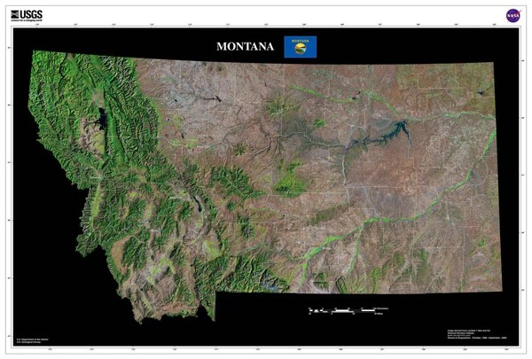 Montana Satellite Poster Map  aerial views from space
