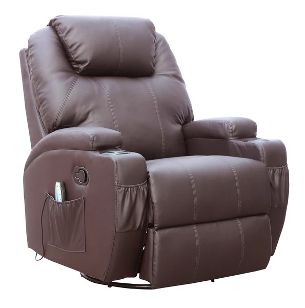 Kidzmotion Brown Leather Recliner Gaming Chair  massage