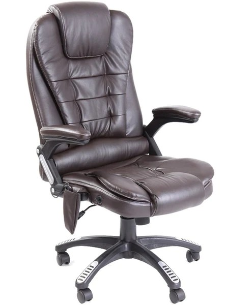 Kidzmotion brown leather high back reclining office chair with massage