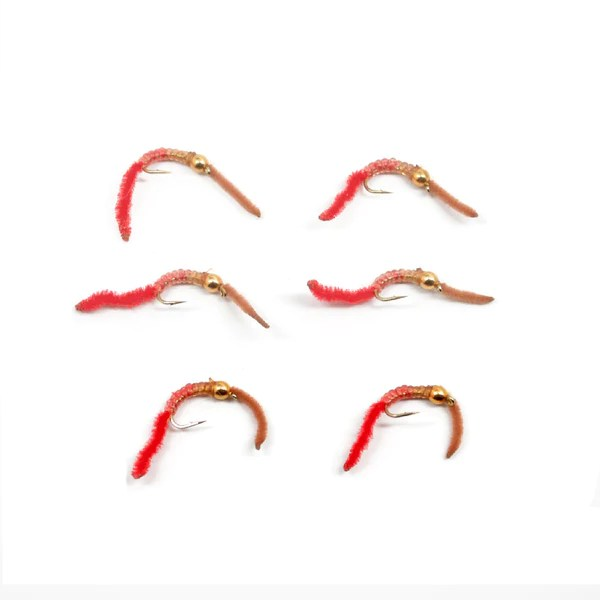 San Juan Worm Power Bead 12 Dozen Gold Bead Brown Red V