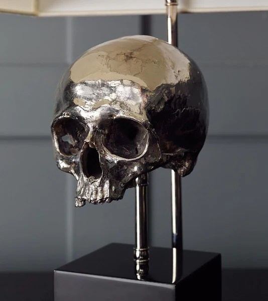 Skull Table Lamp Nickel Plated  Blackman Cruz