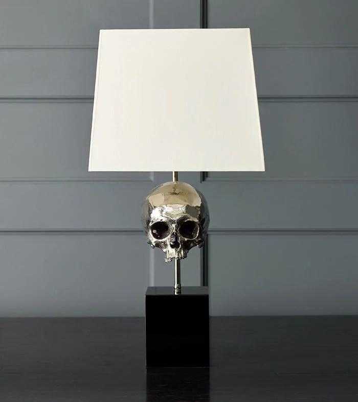 Skull Table Lamp Nickel Plated  Blackman Cruz