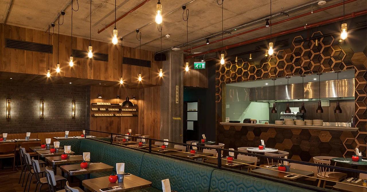 Gourmet Burger Kitchen Upgrades to LED filament lighting  Bright Goods
